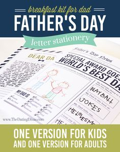 Father's Day Letter Stationery sweet, meaningful and inexpensive gift for the kids to give!