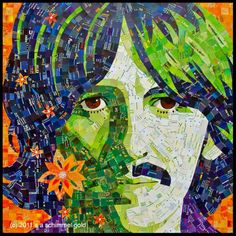 """""""Within You, Without You"""" - George Harrison Mosaic Junk Mail Portrait by Sandhi Schimmel Gold"""