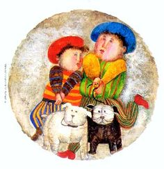 """Graciela Rodo Boulanger    Deux Chiens 2003 Number one of a series of four original lithographs created, signed and numbered by the artist. Image 11"""" in diameter (27.5cm) Paper 16"""" x 14-3/4"""" (40.5cm x 37.5cm)"""