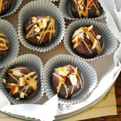 Chocolate-Covered Peanut Butter & Pretzel Truffles Recipe -Sweet chocolate, creamy peanut butter and salty pretzels create a to-die-for truffle. It's a little bite of decadence and a special indulgence for the holiday season.—Ashley Wisniewski, Champaign, Illinois