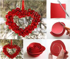 Looking for an inexpensive way to decorate your home for Valentine's Day? Red roses and hearts are symbols of Valentine's day, so this heart shaped paper rose wreath will just do that! There are many creative ways to make paper flowers… Diy Valentines Day Wreath, Valentines Day Decorations, Valentine Day Crafts, Decoration St Valentin, Roses Valentine, Valentine Heart, Diy Valentine's Day Decorations, Diy Decoration, Christmas Decorations