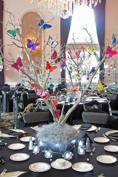 Butterfly Tree Centerpiece Silver With Multi Colored Butterflies Table Decorations Centerpieces