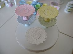 LACE CAKE STAND - Shabby Chic - Dollhouse Miniature 1/12 th Scale. $15.00, via Etsy.