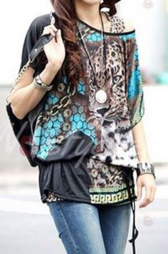 Gorgeous Colors! Love Turquoise! Casual Style Scoop Neck Cheetah Print ColorBlock Short Sleeve Slimming Style Blouse Fashion #Turquoise #Black #Brown #Multicolor #Cheetah #Print #Blouse Street #Style #Fashion #Summer #Outfit #Ideas