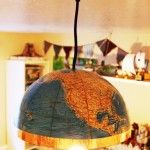 Here's a quick and easy way to create your own globe pendant light, a thoroughly modern twist on a classic piece. Materials Needed: One old globe (or half a g… Round Light Fixture, Cool Light Fixtures, Globe Pendant Light, Pendant Lighting, Sisal, Old Globe, Farmhouse Blankets, Globe Decor, Old Lights