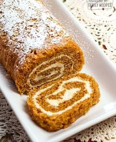 This classic Pumpkin Roll, with its delicate pumpkin cake and fluffy cream cheese filling, is sure to be a fall favorite in your family! One recipe makes two Pumpkin Rolls. Each roll serves Fun Desserts, Delicious Desserts, Dessert Recipes, Yummy Food, Dessert Ideas, Pumpkin Recipes, Fall Recipes, Holiday Recipes, Holiday Treats