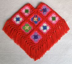 "Groovy Textiles' Bright Toddler's ""Granny Square Poncho""..love the Red!"