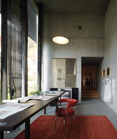 """Pritzker Prize-winning architect Peter Zumthor keeps an office that reflects his so-called """"Brutalist Lite"""" architectural aesthetic."""