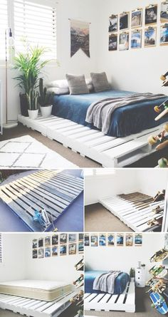 36 Easy DIY Bed Frame Projects to Upgrade Your Bedroom 15 DIY bed frames The post 36 Easy DIY Bed Frame Projects to Upgrade Your Bedroom appeared first on Wohnung ideen. bed frame 36 Easy DIY Bed Frame Projects to Upgrade Your Bedroom - Wohnung ideen Diy Pallet Bed, Pallet Bed Frames, Bed Pallets, Wood Pallet Beds, Wooden Bed Frame Diy, Pallet Ideas Bedroom, Bed Made From Pallets, Pallet Room, Wooden Pallets