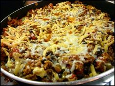 Mexican one pot rice dish...might make with shredded chicken or ground turkey instead of the beef