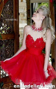 straplez mini kabarık sherri hill elbise modelleri 2014