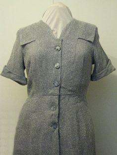 1940's WW2 Era Grey  Day Dress Original by VaVoomVintageShop, $60.00