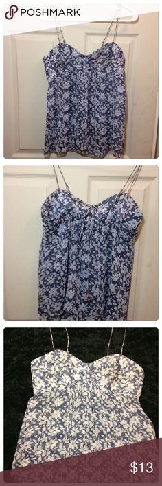 American Eagle floral tank top American Eagle baby blue floral tank top. Spaghetti straps are adjustable! And it ties in the back. This material is sheer, however there are several layers for a flowing affect that makes this article non see through. Excellent Condition! ✨Special Repeat Customer Discount Available!!! ✨ American Eagle Outfitters Tops Camisoles