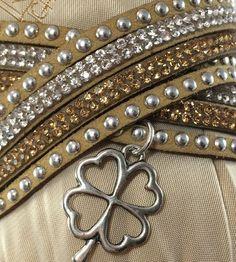 Tan leather Choker /wrap bracelet  4 Leaf Clover Charm Adjustable  | eBay