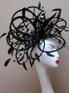 black and white fascinator hats | Fascinators ~ / New Large Black  white feather Fascinator Hat ...