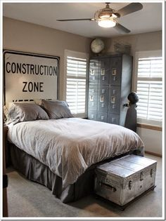 Little Farmstead: A Country Home Tour {Tracie Fish} love this industrial vintage bedroom!