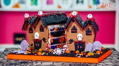 Boo to you! Watch me make this spooktacular Haunted House Cake for Halloween! #Baking #Dessert