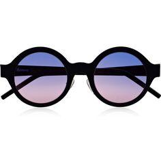 Illesteva Frieda round-frame matte-steel sunglasses (925 BRL) ❤ liked on Polyvore featuring accessories, eyewear, sunglasses, glasses, sunnies, purple lens sunglasses, uv protection sunglasses, steel sunglasses, uv protection glasses and purple lens glasses