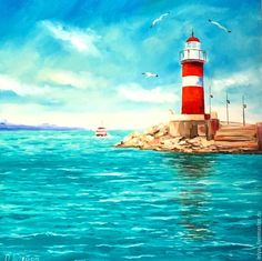 Ocean Artwork, Freedom Art, Lighthouse Painting, Lighthouse Pictures, Acrylic Painting Techniques, Guache, Art Party, Acrylic Art, Art Pictures