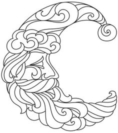 Santa Crescent Moon Embroidery Design