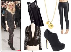 Not So Basic Black from How to Look Hot Like Shakira  The singer stuns in head-to-toe black by layering a lace blazer over a simple tank. She ups the drama by wearing liquid leggings with platform booties and a statement pendant necklace.