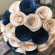 Paper Flower Bouquet - Wedding Bouquet Alternative - Wedding Bouquet - Paper Bridal Bouquet - Paper Flowers - Book Page - Navy Blue