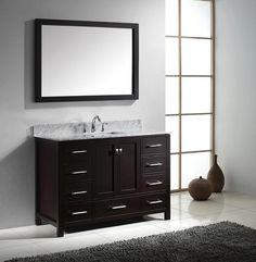"Virtu USA Caroline Avenue 48"" Contemporary Bathroom Vanity, Espresso Finish"