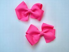 Hair Bows Baby Girl Solid Bright Neon Pink by SweetXDarlings