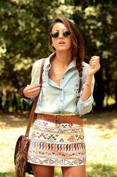 Tribal print mini skirt with a jean collar work top