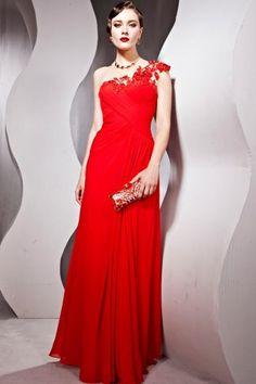 8d0de66f87da9 Robe de bal de soirée rouge moulante ornée de strass à seule épaule en  dentelle en Tencel – Persun.fr