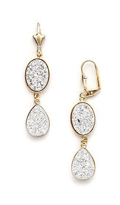 Gold & Silver Druzy Crystal Double Teardrop Earrings
