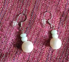 Mint Peruvian Opal and white Cultured Freshwater Pearl 925 Sterling Silver Earrings