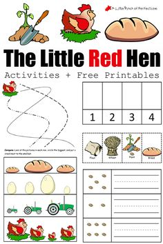 The Little Red Hen Activities and Free Printables: We planted some grain, made some bread, and did some fun free printable activities. The printables work on… The Little Red Hen Preschool, Little Red Hen Activities, Little Red Hen Story, Fairy Tale Theme, Fairy Tales, Free Preschool, Preschool Homework, Preschool Colors, Kindergarten Learning