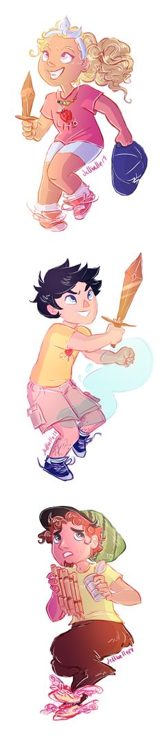 ORIGINAL SQUAD DREAM TEAM ✌ | art by dellbelle39 | Percy Jackson, Annabeth Chase, and Grover Underwood