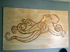 Beer Budget Decor: Ply wood Octopus art!