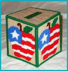 Everything Plastic Canvas - USA Apple Tissue Box Cover
