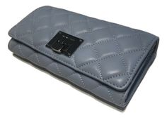 Michael Kors Astrid Carryall Clutch Wallet Pale Blue Quilted Leather