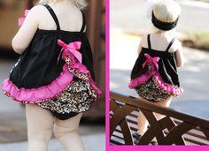 Baby girl ruffle dress with matching ruffle bloomers set