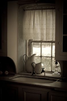 Window above sink brought down to counter height - I like that better!!  Really love the deep windowsill!
