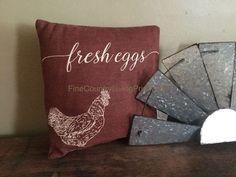 Primitive Americana Farmhouse Pillow ~ Fresh Eggs ~ Rooster ~ Chicken ~ Farm #Primitive #farmhouse #galvanized #windmill SALE in our eBay store!