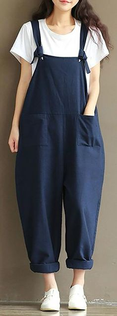 c4f3607803f Hot Sale!Plus Size Casual Strap Pockets Jumpsuit Romper Trousers Overalls  For Women
