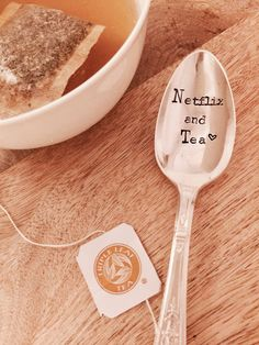 A personal favorite from my Etsy shop https://www.etsy.com/listing/499548654/netflix-and-tea-vintage-hand-stamped-tea