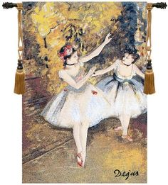 Woven in Belgium History: Degas Two Dancers On Stage is a Belgian jacquard wall tapestry. The artwork comes from a painting by Edgar Degas (1834-1917). Born Hil