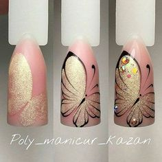 23 Butterfly nail art - nails - Lilly is Love Butterfly Nail Designs, Butterfly Nail Art, Nail Art Designs, Nails Design, May Nails, Hair And Nails, Nail Art Papillon, Tattoo Papillon, Cute Nails