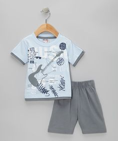 Sky Blue Guitar Layered Tee & Shorts - Infant, Toddler & Boys by Mish Mish on #zulily