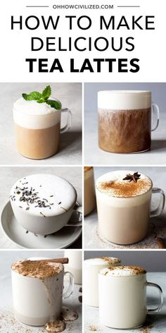 Rich and creamy tea lattes are the perfect winter drink. These easy recipes from Oh, How Civilized will show you how to whip up these soothing sips at home, including earl grey, chai latte, pumpkin spice chai latte, and more! Unwind with a frothy tea latte this winter! #tealatte #tutorial #drink #winter #recipes Fun Drinks, Yummy Drinks, Healthy Drinks, Yummy Food, Beverages, Brunch Drinks, Smoothie Drinks, Smoothies, Café Chocolate