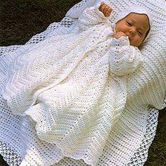 Christening Coat & Bonnet Crochet: Newborn to 9 Months - Free Crochet Patterns Bonnet Crochet, Crochet Diy, Crochet Gratis, Crochet For Kids, Crochet Yoke, Simple Crochet, Crochet Edgings, Vintage Crochet, Baby Patterns