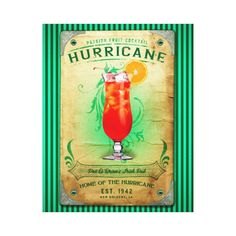 Hurricane Cocktail Canvas Hanging Print