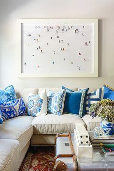 At Home With Gray Malin via @waitingonmartha  Lacefield Royal Blue Pillow Collection www.lacefielddesigns.com #southernmade #designingwomen #blueandwhite