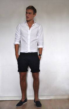 simple & classic summer style w/ white button-down shirt and shorts -- menswear look